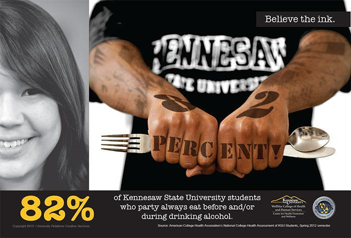 82% of Kennesaw State University students who party always eat before and/or during drinking alcohol.