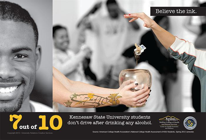7 out of 10 Kennesaw State University students don't drive after drinking any alcohol.